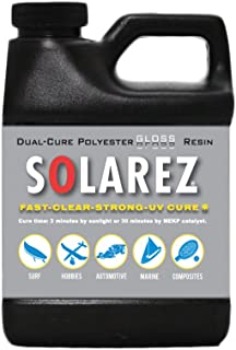 SOLAREZ UV Cure Polyester Gloss Resin, for Custom Woodworking, Pool Cues, Guitar Making, Counter Tops, Bar Tops, Wood Tables (Pint)