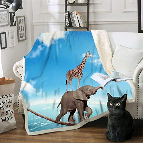 FDCSYP dekens, beddengoed voor dieren, olifant, giraffe, digitale druk, 3D, Sherpa Throw reizen, warme deken voor bed, bank, bed, pluche, winter-sprei 150×200cm