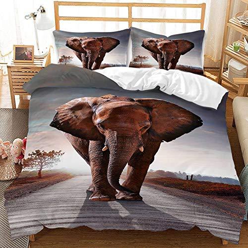 YMYGYR Funda de Almohada con Funda nórdica con Estampado de Elefante arcoíris en 3D, Ropa de Cama Suave y cómoda, Adecuada para Decorar dormitorios, hoteles temáticos-mi_220x240cm (3 Piezas)