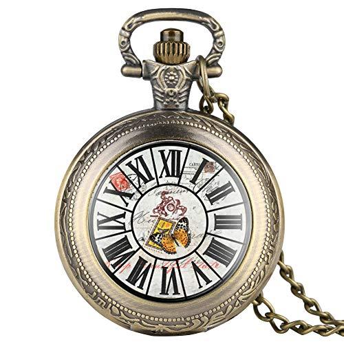 Stilvolle römische Ziffern Stempel Zifferblatt Muster Patch Quarz Taschenuhr für Männer Klassische Bronze Taschenuhren für Jungen Dünne Kette Anhänger Uhr für Frauen