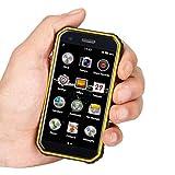Mini Smartphone 3.0'Teléfono móvil a Prueba de Agua 4G Desbloqueado Teléfono Celular Dual SIM GPS NFC 3 + 32GB ROM (Negro+Amarillo)