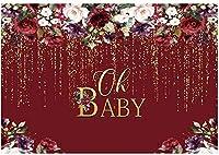 HDああ女の赤ちゃんのベビーシャワーパーティーの背景写真バーガンディの赤い花花金色のキラキラ背景ケーキテーブル装飾バナー写真ブース小道具7x5ft
