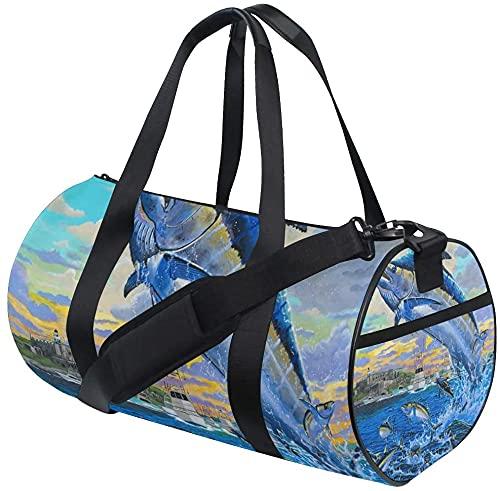 Gym Duffel Bag Puerto Rico Marlin Training Duffle Bag Bolsas Deportivas de Viaje Redondas para Hombres y Mujeres