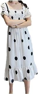 EnergyWD Womens Polka Dot Cross Back Tie Front Splicing Ruffled Skinny Beach Dresses
