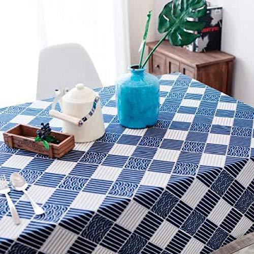 DAKEUR Heiße Tischdecke Leinen rustikale quadratische Tischdecke rechteckige Tischdecke Kaffeetisch Tee-Set Heimtextilien Textil Wellengitter 120x180 cm