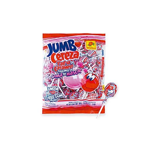 De La Rosa Jumbo Cherry Lollipop bubble gum pop bag of 50