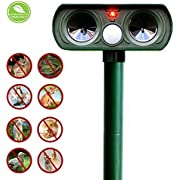 Fomei Ultrasonic Animal Repeller, Solar Powered Pest Repeller, Waterproof Outdoor Repellent with Motion Activated PIR Sensor, Repel Dogs, Cats, Squirrels and more