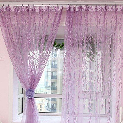 Vorhänge ländlicher Stil Weidenblätter-Muster, versetzt, Rollo, bedruckt, Glas-Garn, für Tür Fenster Deko, 1m x 2m, grün Violett
