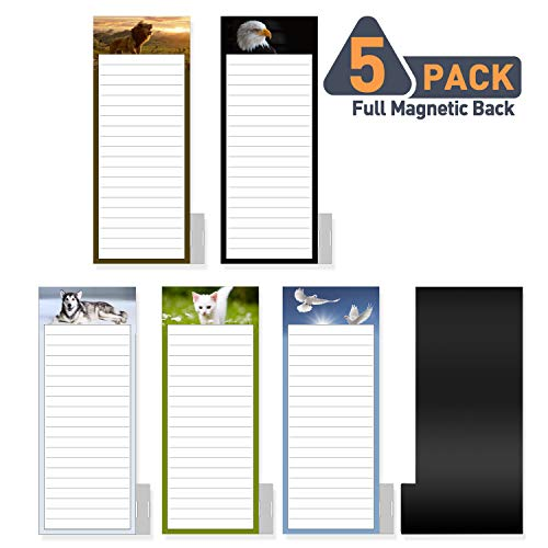 5 Pack Bigger Full Magnetic Back To Do List Notepads for Fridge with Pen Holder, House Chores, Grocery Shopping and Reminders, Animal Theme Designs, 9
