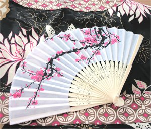 Cherry Blossom Silk Fans - Baby Shower Gifts & Wedding Favors