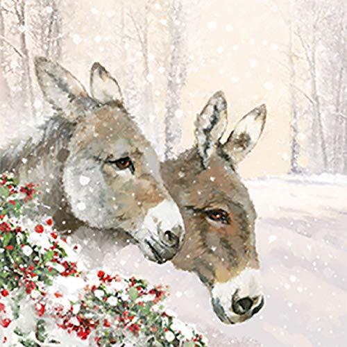 Servietten (2er Set / 40Stück) 3-lagig 33x33cm Xmas Weihnachten Winter Esel Burro