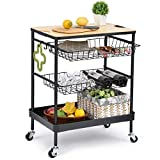 TOOLF Kitchen Island Serving Cart with Utility Wood Tabletop, 4-Tier Rolling Storage Cart with 2...