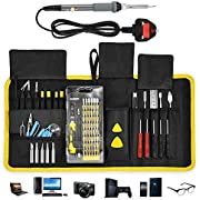 ACCEWIT 87 in 1 Precision Screwdriver and Soldering Iron Kit, Magnetic Repair Tool Set for Smartphones, Tablets, PC, Watches, Cameras, Xbox & Other Electronic Devices