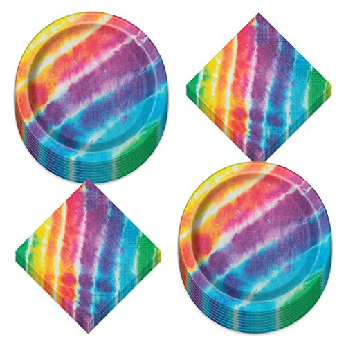 Tie Dye Rainbow Paper Dinner Plates and Luncheon Napkins - Beach Bum, 60's Decades, and Hippie Theme Party Supplies (Serves 16)