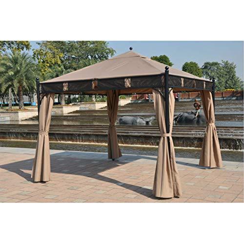 BNXXINGMU 3 * 3 Metros Gazebo Exterior Carpa Patio Sombra pabellón jardín toldo protección contra la Lluvia Muebles casa con Paredes Laterales