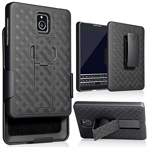 BlackBerry Passport Phone Case with Clip, Nakedcellphone Black Kickstand Cover + Belt Hip Holster Combo for BlackBerry Passport (ONLY for AT&T Version, SQW100-3)