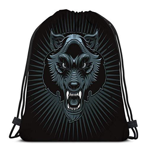 Lsjuee Lightweight Gym Travel Yoga Casual Kordelzug Maulkorb wütend Wolf Druck isoliert Aufkleber Werwolf Kopf Logo