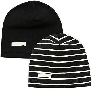 LACOFIA 2 Piezas Sombrero de Beanie de 100% algodón para bebé niños Gorro Tejer de Las bebé de Esencial Negro M