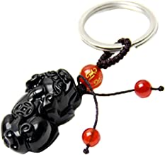 Handmade Feng Shui Obsidian Pi Yao/Pi Xiu Key Chain or Hanging for Wealth Luck with Betterdecor Pounch