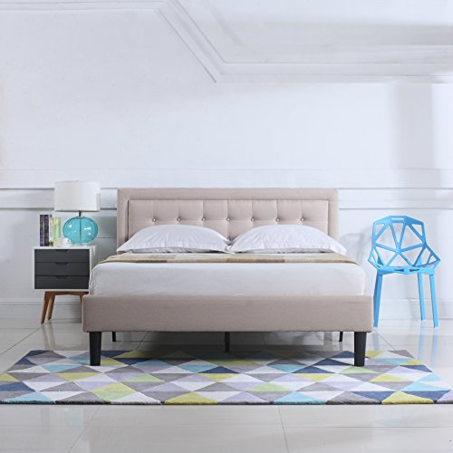 Divano Roma Furniture Classic Deluxe Linen Low Profile Platform Bed Frame with Nailhead Trim Headboard Design (Queen, Ivory)