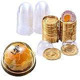X-BLTU 50PCS 2 Pulgadas de Mini Portatartas con Tapa,Mini Caja de Regalo de Cumpleaños para Bodas, Caja de Pastel,Recipiente para Conservar y Transportar Tartas (Redondo Dorado)