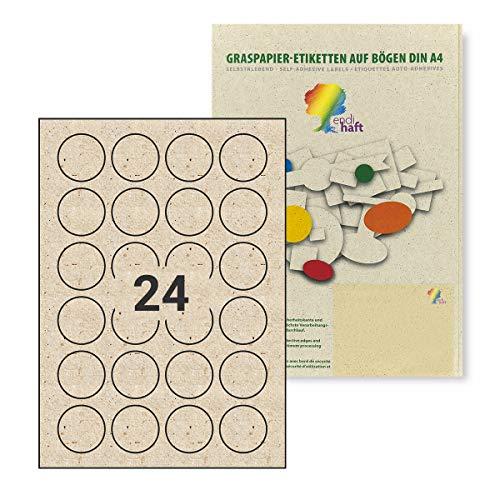 Endi Haft Deckeletikett, Etiketten aus Graspapier, 40mm Rund, Naturetiketten, bestechen durch Aussehen und Haptik, Außergewöhnliches Etikett auf A4, Unbedruckt, einfach zu beschriften G00040-10