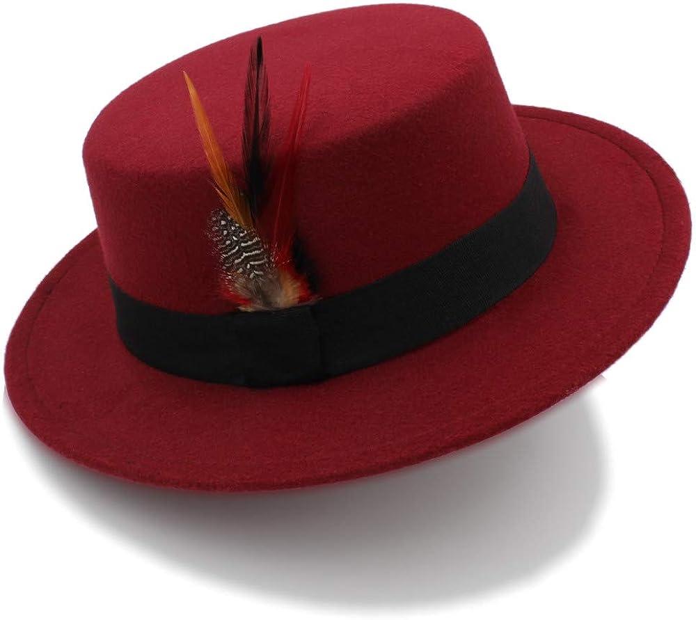 Hxgang 2018 Winter Wool Pork Pie Boater Flat Top Hat for Women Men Felt Wide Brim Fedora Player Hat