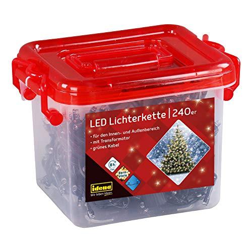 Idena 31855 - LED Lichterkette mit 240 LED bernsteinfarben, mit 8 Stunden Timer Funktion und Transformator, in Kunststoffbox, ca. 21 m lang, Innen- und Außenbereich, als Deko für Partys, Weihnachten