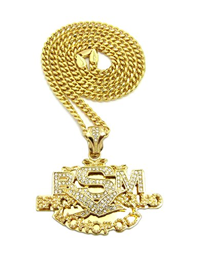 ICED OUT BRICK SQUAD MONOPOLY PENDANT & 24' CUBAN CHAIN HIP HOP NECKLACE RC2305 (Gold)