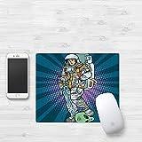 Mauspad mit genähten Kanten,Astronaut, Galaxy Warrior mit Schwert und abgetrenntem Alienkopf Maskuline Sp,rutschfeste Gummi-Basis-Mousepad, Gaming und Office mauspad für Laptop, Computer & PC320x250mm