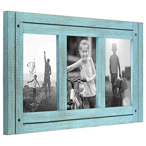 Americanflat Collage Picture Frame with Three 4x6 Displays in Turquoise Blue - Textured Wood and Polished Glass - Horizontal and Vertical Formats for Wall and Tabletop