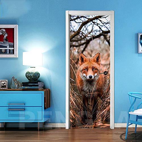Deurfolie 3D Deurfolie 3D Deur Sticker Woondecoratie Dier Vos Zelfklevend Vernieuwen Canvas Wall Art Pvc Waterdicht Behang Plakken Foto'S-As_Shown_95X215Cm