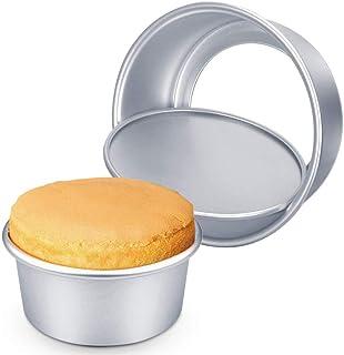 Lot de 2 moules à gâteau ronds en aluminium - Amovibles - 15 cm et 20 cm