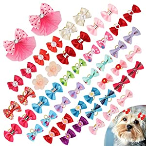 PAWCHIE Dog Bows for Small Dogs Hair – 50 PCS Cute Dog Bows Girl with 100PCS Rubber Bands Rhinestone Colorful Flower Bowtie Clips Mix Colors Pet Puppy Topknot Grooming Bows Accessories