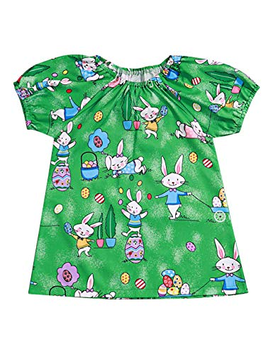 Toddler Baby Girl Summer Clothes Bunny Rabbit Dresses Easter Outfit (Green, 4-5T)