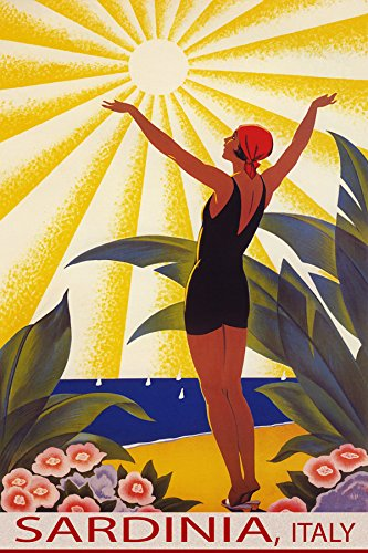 "SUNSHINE SARDINIA ITALY BEACH GIRL WELCOMING THE SUN SAILING TRAVEL 12"" X 16"" VINTAGE POSTER REPRO MATTE PAPER WE HAVE OTHER SIZES"