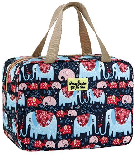 Kulturbeutel für Damen, Kosmetiktasche, große Kulturtasche, Navy Rose, auslaufsicher, Kulturbeutel für Mädchen Make-up-Tasche, Blumenmuster, Kosmetiktasche elefant 11.8L×5.1W×7.8H