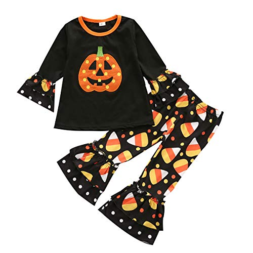 Baby Kid Girl Halloween Outfits Set Long Sleeve Pumpkin T-Shirt Top+ Leopard Flare Pants 2Pcs Toddler Girl Clothes (Black, 3-4 Years)
