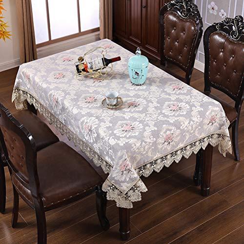 WHDJ Manteles Bordados de Encaje, poliéster, Mantel antiescarcha y no decolorado, Cubierta de Mesa Gruesa a Prueba de Polvo para el hogar y el Restaurante