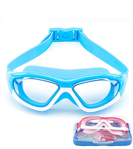 June Sports Swim Goggles for Kids (3-15 Year Old), Waterproof Swimming Googles Glasses Large Frame Anti Fog UVA/UVB Protection and No Leak Soft Silicone Gasket Teens Boys Girls Light Blue SG28