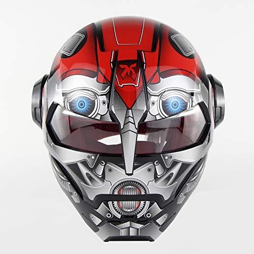 CHEYAL D. O. T Zertifizierter Motorradhelm Motocross Full Face Casco Moto Flip Open Maske Helm, Iron Man Transformers-M, L, XL,L