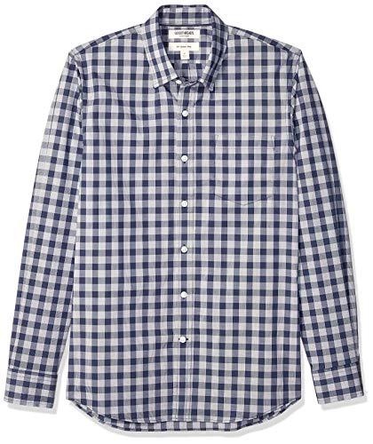 Marca Amazon - Goodthreads - Camisa cómoda de popelín elástico con manga larga, corte entallado, y de cuidado fácil, para hombre, Navy Glen Plaid, US M (EU M)
