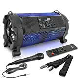 Wireless Portable Bluetooth Boombox Speaker - 500W 2.1Ch Rechargeable Boom Box Speaker Portable Barrel Loud Stereo System with Flashing LED, Digital LCD Display, AUX, USB, 1/4' Mic IN - Pyle PBMSPG180