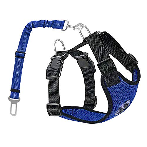AUTOWT Dog Safety Vest Harness, Pet Car Harness Dog Safety Seatbelt Breathable Mesh Fabric Vest with Adjustable Strap for Travel and Daily Use in Vehicle for Dogs Puppy Cats (XS, New Blue)