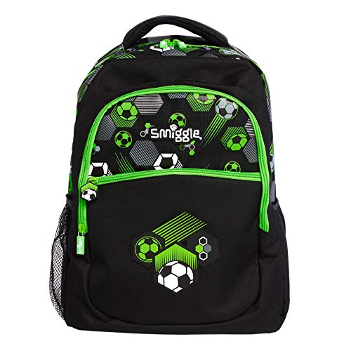 Smiggle Tropicool Kids School Backpack for Boys & Girls with Laptop Compartment & Dual Drink Bottle Sleeves   Football Print