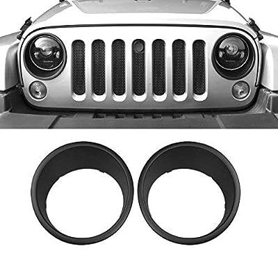 AMERICAN MODIFIED Front Lights Trim Covers Head Lights Bezels 2007-2018 2&4 Door Jeep Wrangler JK JKU LJ Off-road Unlimited Accessories