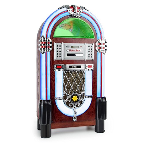 auna Graceland TT - Jukebox, Retro Musikbox, Bluetooth, Plattenspieler, MP3-fähiger CD-Player, USB-Port, SD-Karten Slot, Aufnahmefunktion, AUX-Eingang, UKW Radio, LED-Beleuchtung, braun