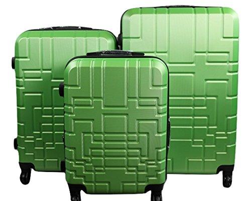 Orlacs modello Dublin 5 -Set valige Trolley da 3 pezzi,dopiia ZIP ampiezza, materiale ABS e policarbonato con 4 ruote girevoli 360° gradi colori vari (Verde)