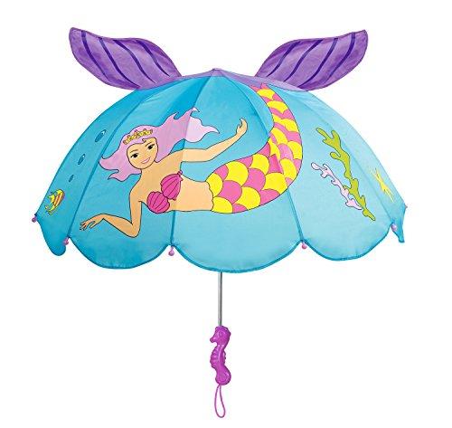 Kidorable Regenschirm für Mädchen, mit lustigem Seepferdchen-Griff und Pop-Up-Schwanz, Blau