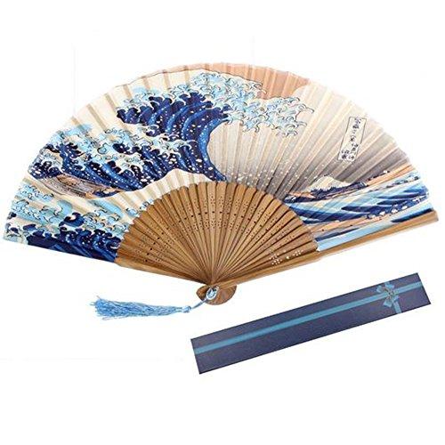 Youkara Éventail chinois pliable Motif vague pour décoration d'intérieur